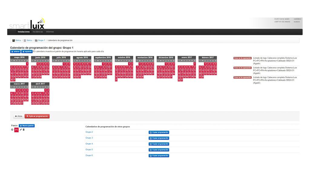Aplicación SmartLUIX Calendario